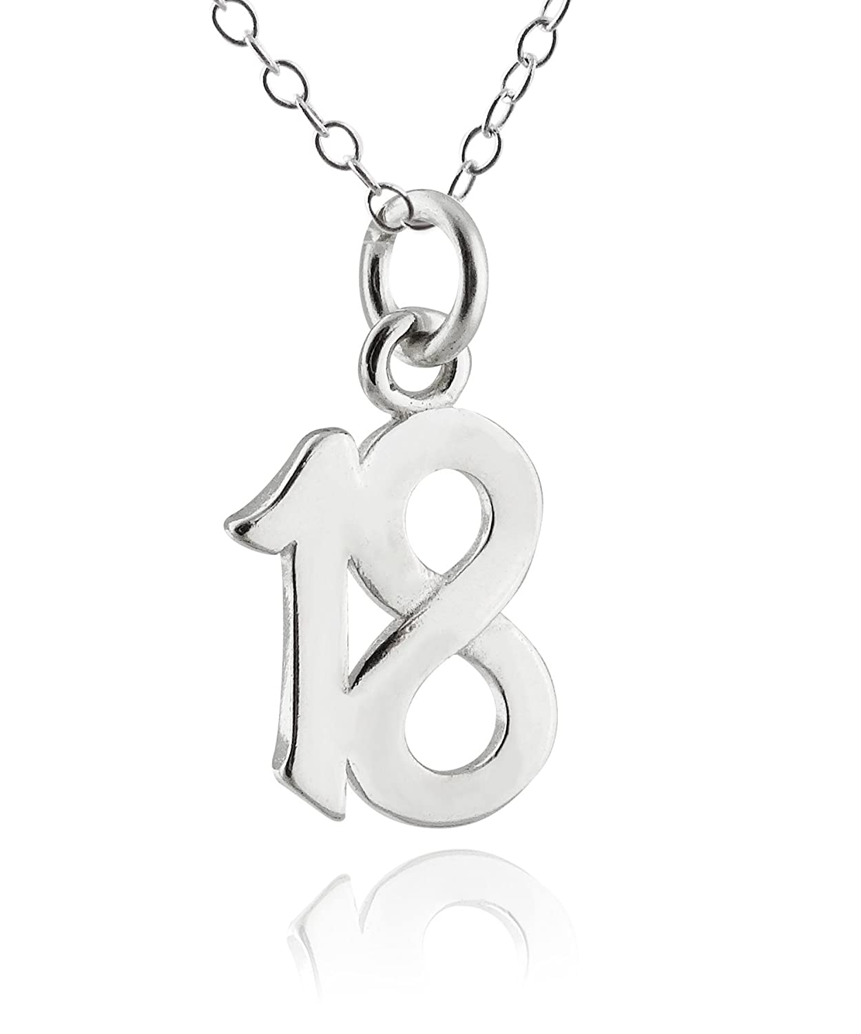 70b437f0b74ab FashionJunkie4Life Sterling Silver Number 18 Eighteen Charm Necklace, 18