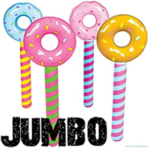 (4) JUMBO ~ Inflatable Donut Lollipop Wonka CANDYLAND Pool Float Party Toys