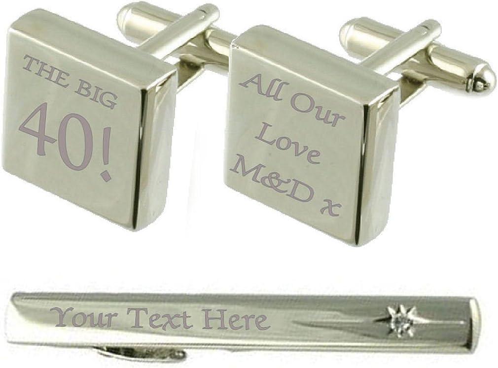 Select Gifts Big 40 Birthday Engraved Cufflinks Tie Clip Box Set