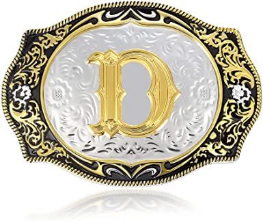 Western Latest 4Style Initial Letter Belt Buckle with Colorful Arabesque Pattern