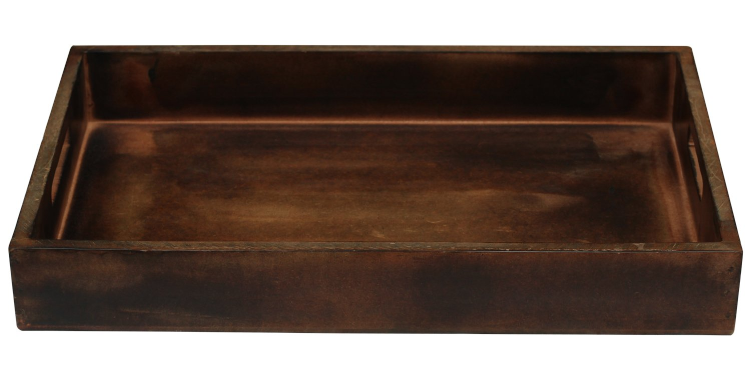 SouvNear Wooden Serving Handles - 17 x 11 Inches Large Dark Brown - Decorative Vintage Look Service Tea, Coffee, Breakfast Trays by SouvNear (Image #3)