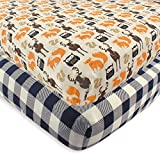 Cheap Baby Cribs Hudson Baby 2 Piece Cotton Fitted Crib Sheet, Forest, One Size