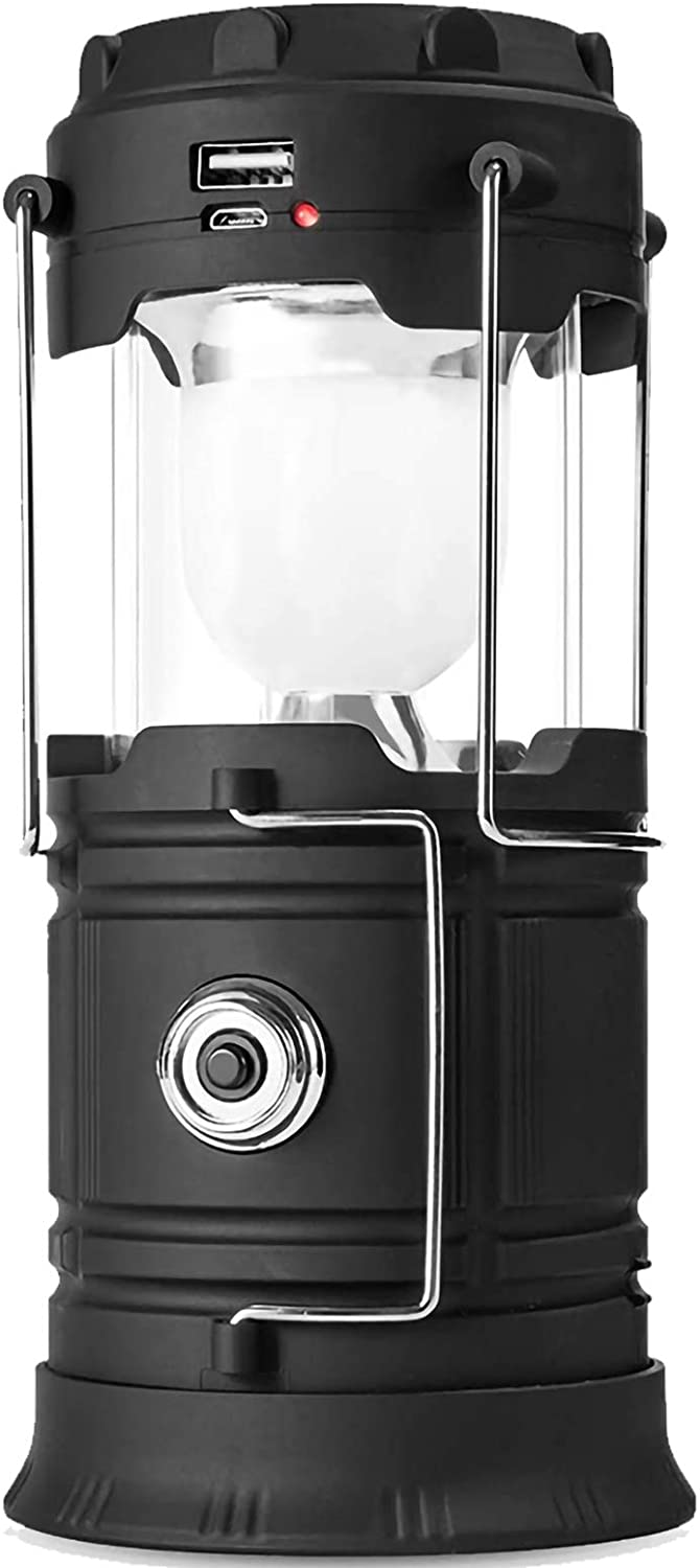 Solar Lantern Flashlights, USB Rechargeable Camping Lantern Led, Collapsible & Portable for Emergency, Hurricanes, Power Outage, Storm (Black 1) - -