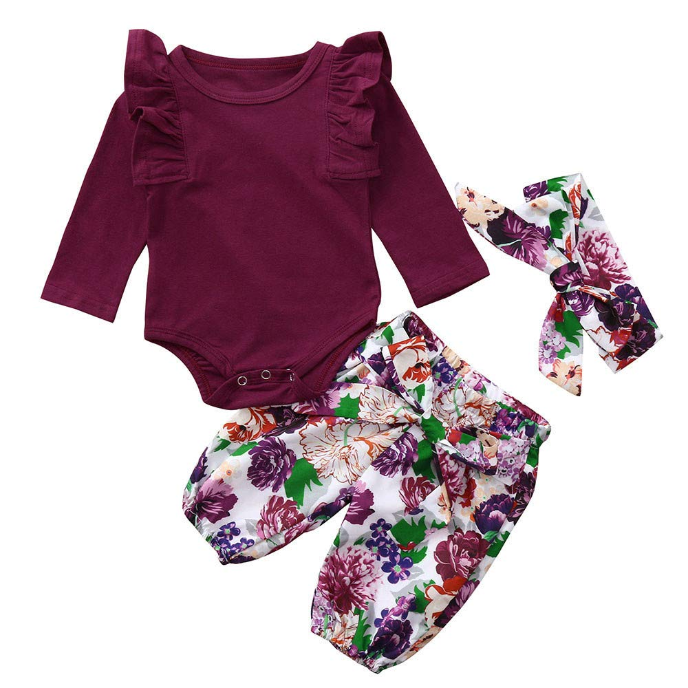 Evansamp Infant Baby Girls Outfit Solid Ruffle Long Sleeve Romper Jumpsuit + Floral Pants +Headbands Outfits Set