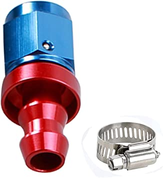 8 AN Aluminum Straight Swivel Female AN8 3//4-16 Thread Push Lock//Push On Barb Hose End Oil Fuel Line Fitting with Amercian Type Clamp Black