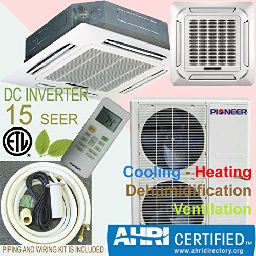 Pioneer Ceiling Cassette Split Ductless Inverter+ Heat Pump System Set, 36000 - Btu Reverse Cycle