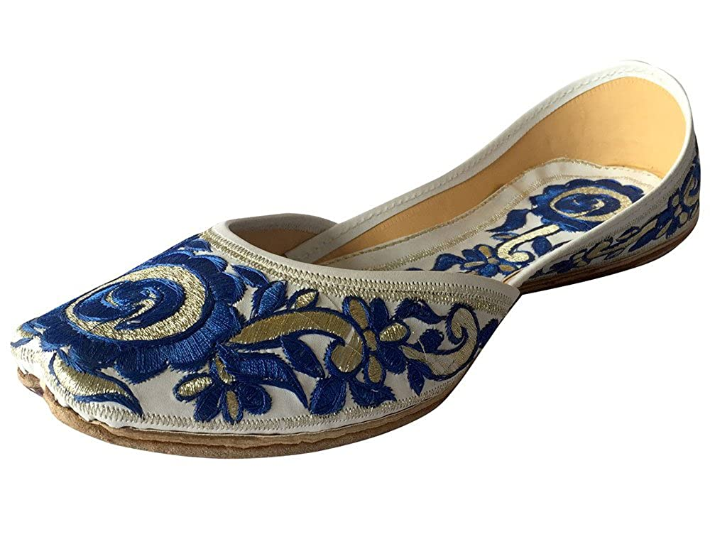 Step n Style Women's Phulkari Punjabi Jutti Khussa Shoes Ethnic Shoes Handmade Tribal Shoes DD415