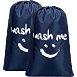 HOMEST 2 Pack XL Wash Me Travel Laundry Bag, Machine Washable Dirty Clothes Organizer, Large Enough to Hold 4 Loads of Laundr