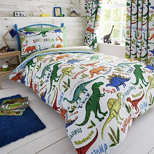 - Happy Linen Company HLC Childrens Boys Girls Dinosaur Park Jurassic T-Rex Dino Green Reversible UK Single/US Twin Bedding Duvet Cover Set