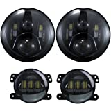 7 inch LED Headlights DOT 4 inch Fog Lights Bulbs Set Kit Projector 6000K for Jeep Wrangler JK LJ JKU TJ CJ Sahara Rubicon Freedom Dragon Edition Unlimited Hard Rock Sport Headlamps Lights Lamps Black