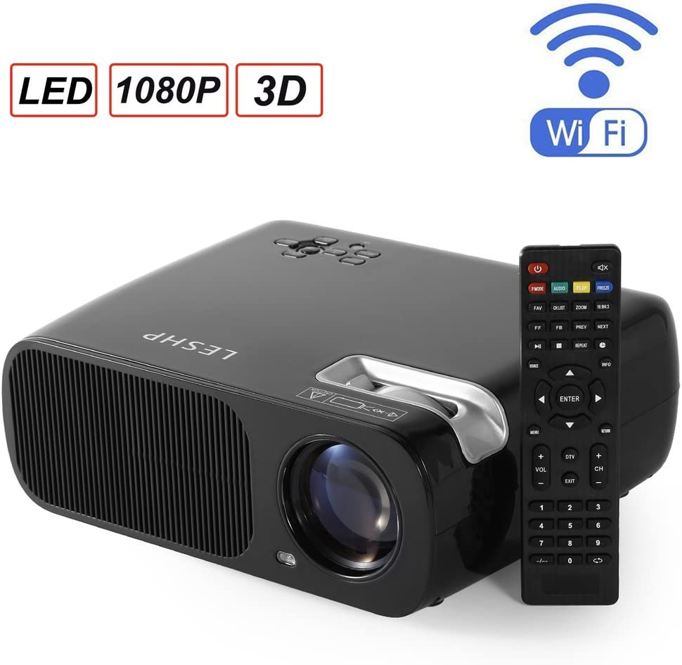 Wifi Projector,LESHP Portable Multimedia 2600 Lumens Home Theater 1080P Mini LED Projector With AV/VGA/USB/SD/HDMI/TV for Video Game Movie Cinema