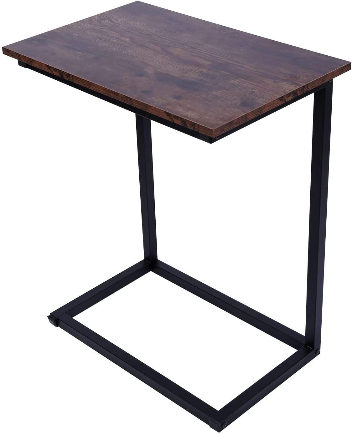 "REDCAMP C Shaped Side Table for Sofa Living Room, 26"" Tall Sturdy Metal Wood Laptop Table for Couch Snack Coffee TV Tray, Brown"