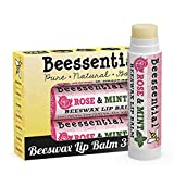 Beessential All Natural Rose & Mint Lip Balm 3 pack - Heals and Prevents Dry and Chapped...