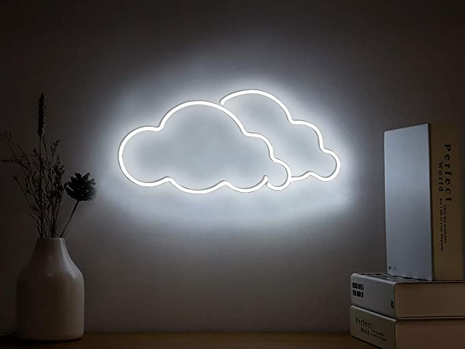Neon Signs Cloud Neon Light Sign Hanging Neon Sign White Neon Lights Neon Wall Sign Real Neon Lamp Decorative Light For Home Bedroom Room Decor Beer Bar Office Party Decor