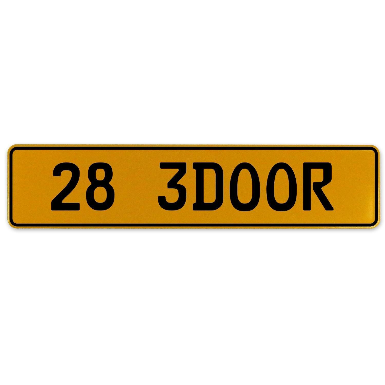 Vintage Parts 563041 28 3DOOR Yellow Stamped Aluminum European Plate