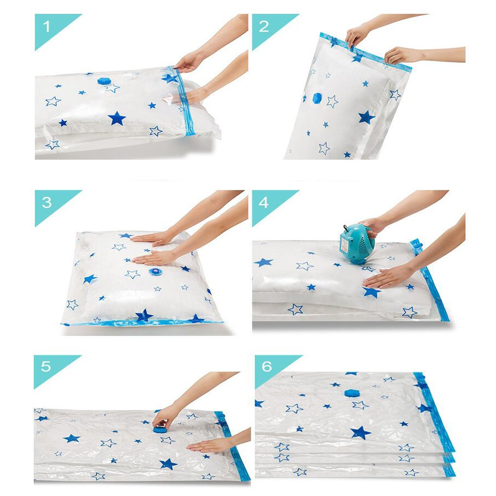 Bolansi Premium Vacuum Storage Bags for Clothes, Quilts, Pillows, Save 80% of the space for the wardrobe with this Space Saver bags(Large-5pack)
