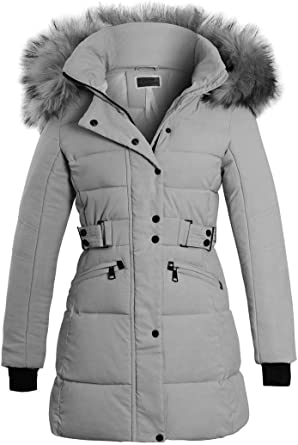 Women Pink Fur Lined Hooded Winter Coat Longline Jacket Khaki Parka UK 12 14 16