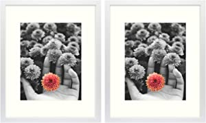 Frametory, 16x20 White Picture Frame - Made to Display Pictures 11x14 Photo with Ivory Color Mat - Wide Molding - Preinstalled Wall Mounting Hardware (16x20, 2-Pack, White)