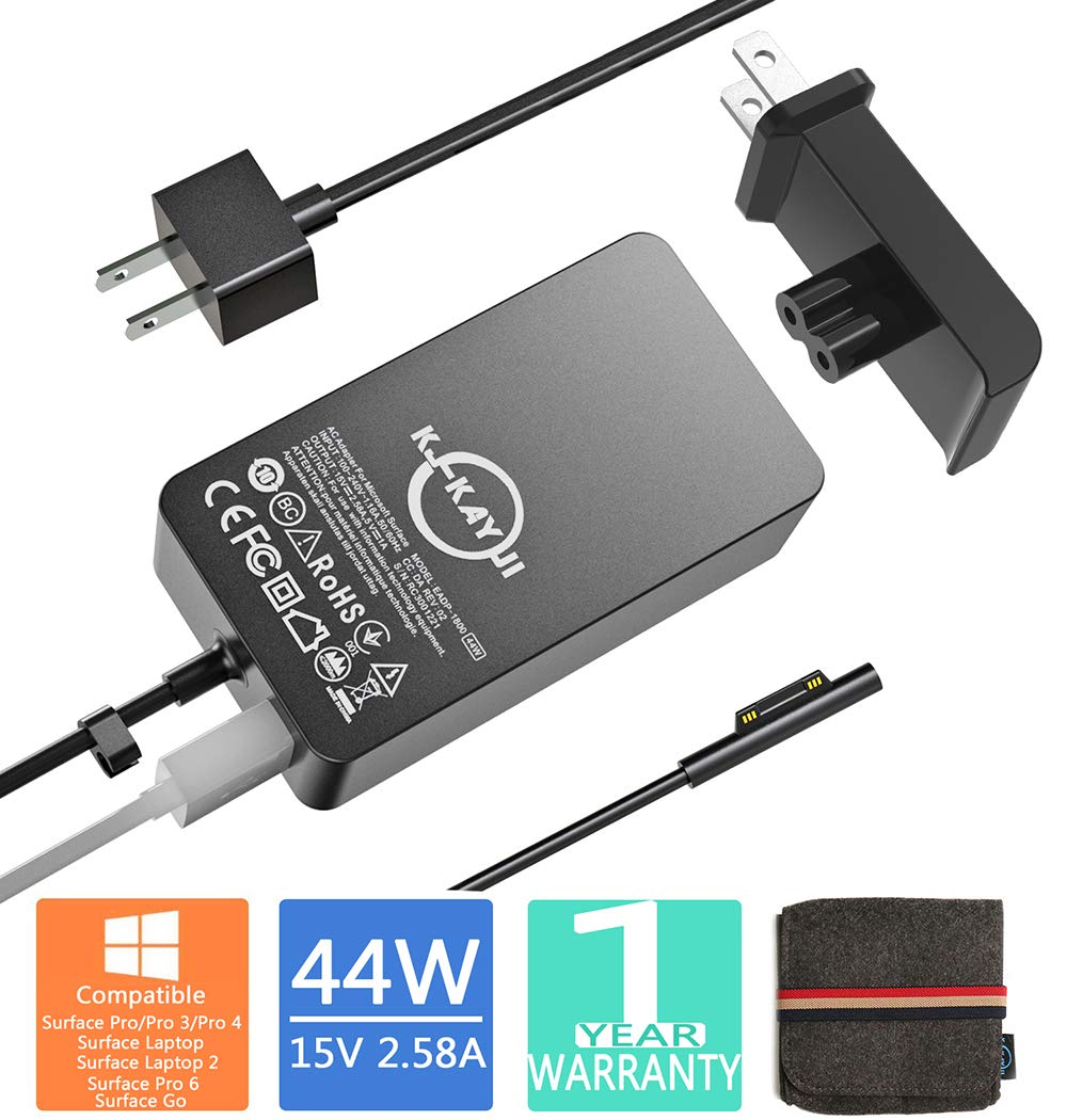 Surface Pro Surface Laptop Charger 44W 15V 2.58A Power Supply Compatible Microsoft Surface Pro Pro 4 Pro 3 Surface Laptop Surface Go&Surface Book,6.2Ft Power Cable and Extra Wall Plug,with Travel Case