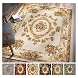 Pastoral Medallion Ivory French Area Rug 11 x 15 ( 10'11'' x 15' ) European Floral Traditional Easy Clean Stain Fade Resistant Shed Free Modern Classic Contemporary Thick Soft Plush Living Dining Room