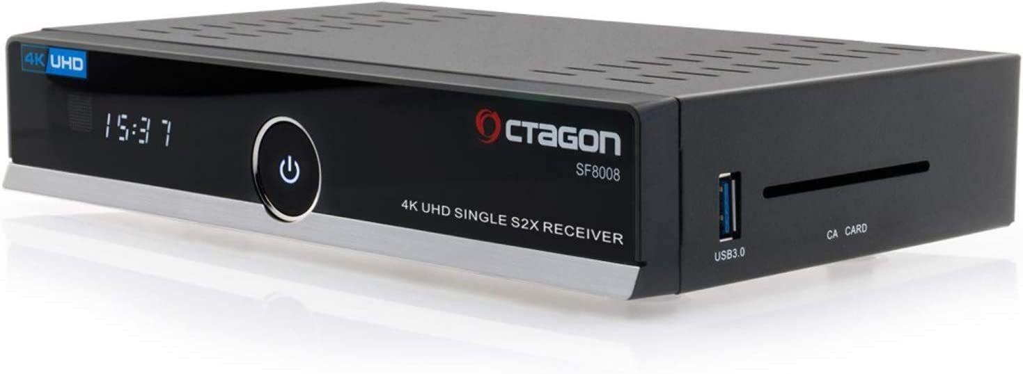 Octagon SF8008 4K HDR UHD HEVC E2 Linux DVB-S2X Single Sat Receiver 300Mbit Wlan