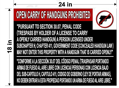 Texas 30.07 Open Carry Sign (Black with White - And Out Allen In Tx
