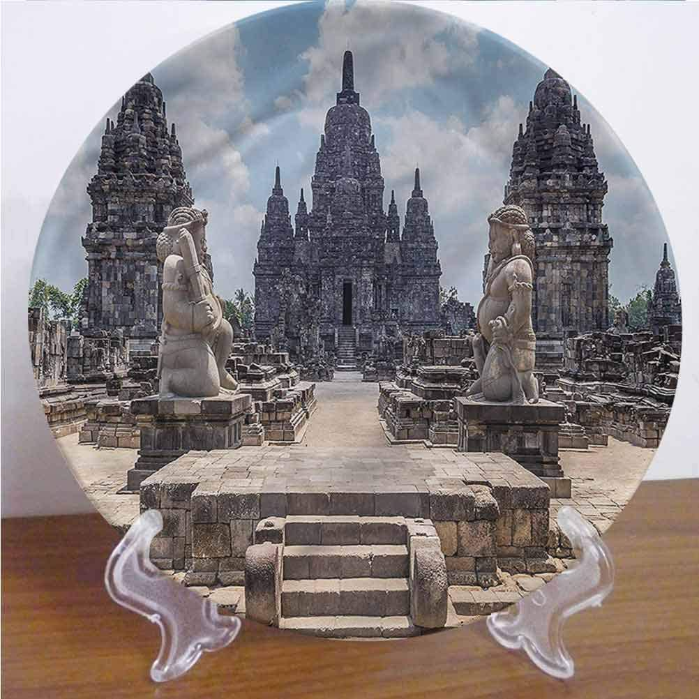 6 Inch Ancient 3D Printed Decorative Plate Sewu Indonesia Stone Ceramic Stoneware Decorative Plate Decor Accessory for Dining, Parties, Wedding