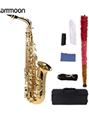 ammoon bE Alto Saxophone Brass Lacquered Gold E Flat Sax 802 Key Type Woodwind Instrument with Cleaning Brush Cloth Gloves Cork Grease Strap Padded Case