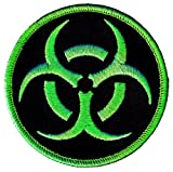 Biohazard Symbol Embroidered Patch Iron-On Danger Symbol Zombie Green Logo