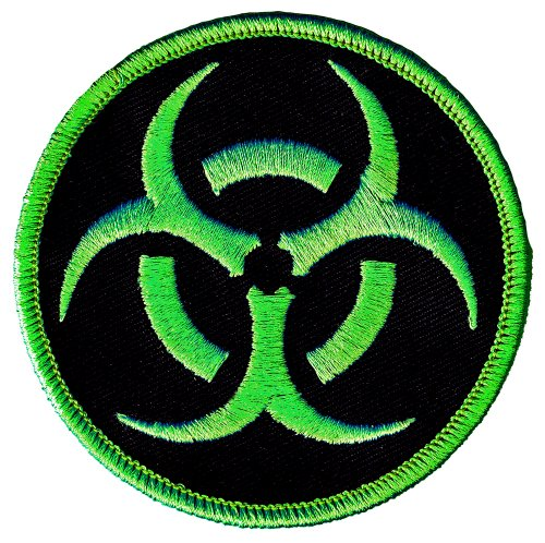 Biohazard Symbol Embroidered Patch Iron-On Danger Symbol Zombie Green Logo]()