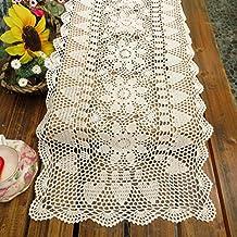 kilofly Handmade Crochet Lace Rectangular Table Runner 15 x 51 Inch, White