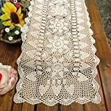 inspiring square kitchen plan kilofly Handmade Crochet Lace Rectangular Table Runner 15 x 51 Inch, White
