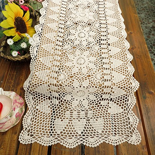 kilofly Handmade Crochet Lace Rectangular Table Runner 15 x 36 Inch, White