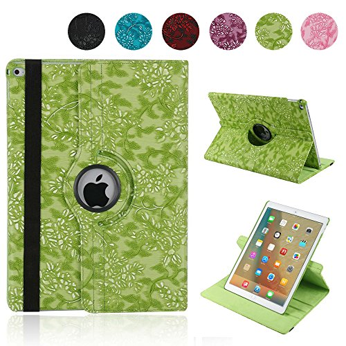 Price comparison product image iPad Pro 12.9 Cover, YiMiky Smart Folio Stand Slim Lightweight 360 Degree Rotating Multi-angle PU leather Floral Pattern Protective Case for 12.9' iPad Pro 12.9(2015 / 2017),  Green