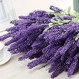 Moonguiding 12 Heads Artificial Flocked Lavender Bouquet in Purple Flowers Home Wedding Garden Decor