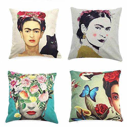 Beautyonline 4Pcs Mexican Style Cotton Linen Throw Pillow Case Cushion Cover Pillow Covers Home Car Decor - Frida Kahlo Doll