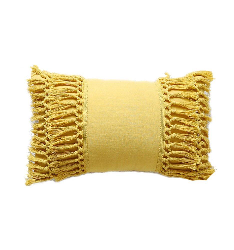 Tassel Throw Pillow Decorative Cotton Sham,12''X20'' by Flber