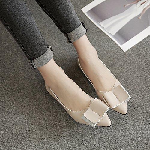 Xue Qiqi Court Schuhe  Flache Spitz Flache Schuhe Flache  Mund Schmetterling Flach mit Einem Einzigen Schuh Weibliche Niedrige Ferse Lederschuhe e50d82