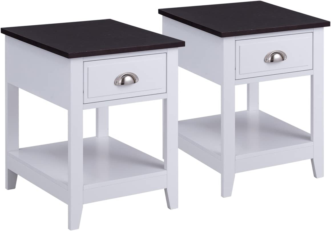 Giantex Set of 2 Night Stand for Bedrooms End Table Coffee Table with Storage Drawer Display Shelf Storage Bedside Cabinet