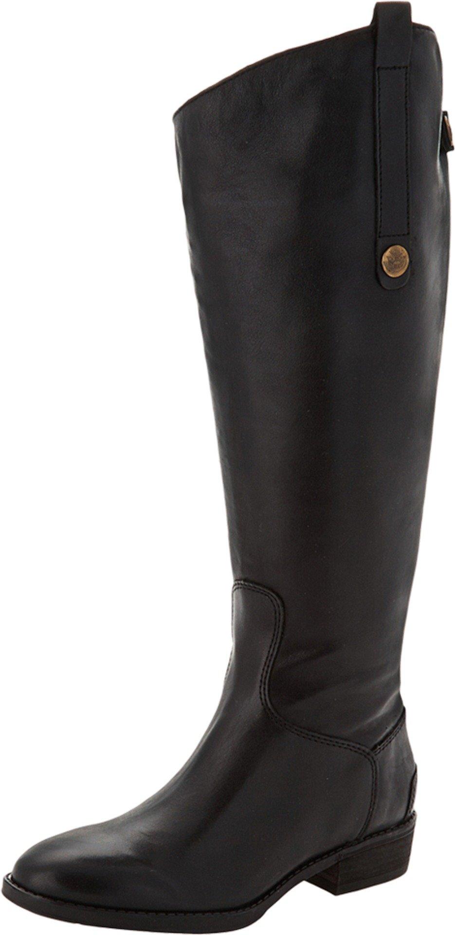 Sam Edelman Women's Penny 2 Wide Shaft Riding Boot, Black Leather, 8.5 M US