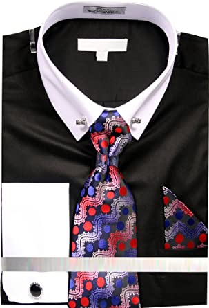 b5740cb49233 Men's Solid Dress Shirt with Collar Bar and Tie Handkerchief Cufflinks -  Black 15.5 3334