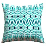 DENY Designs Amy Sia Ikat Jade Outdoor Throw Pillow, 16 by 16-Inch