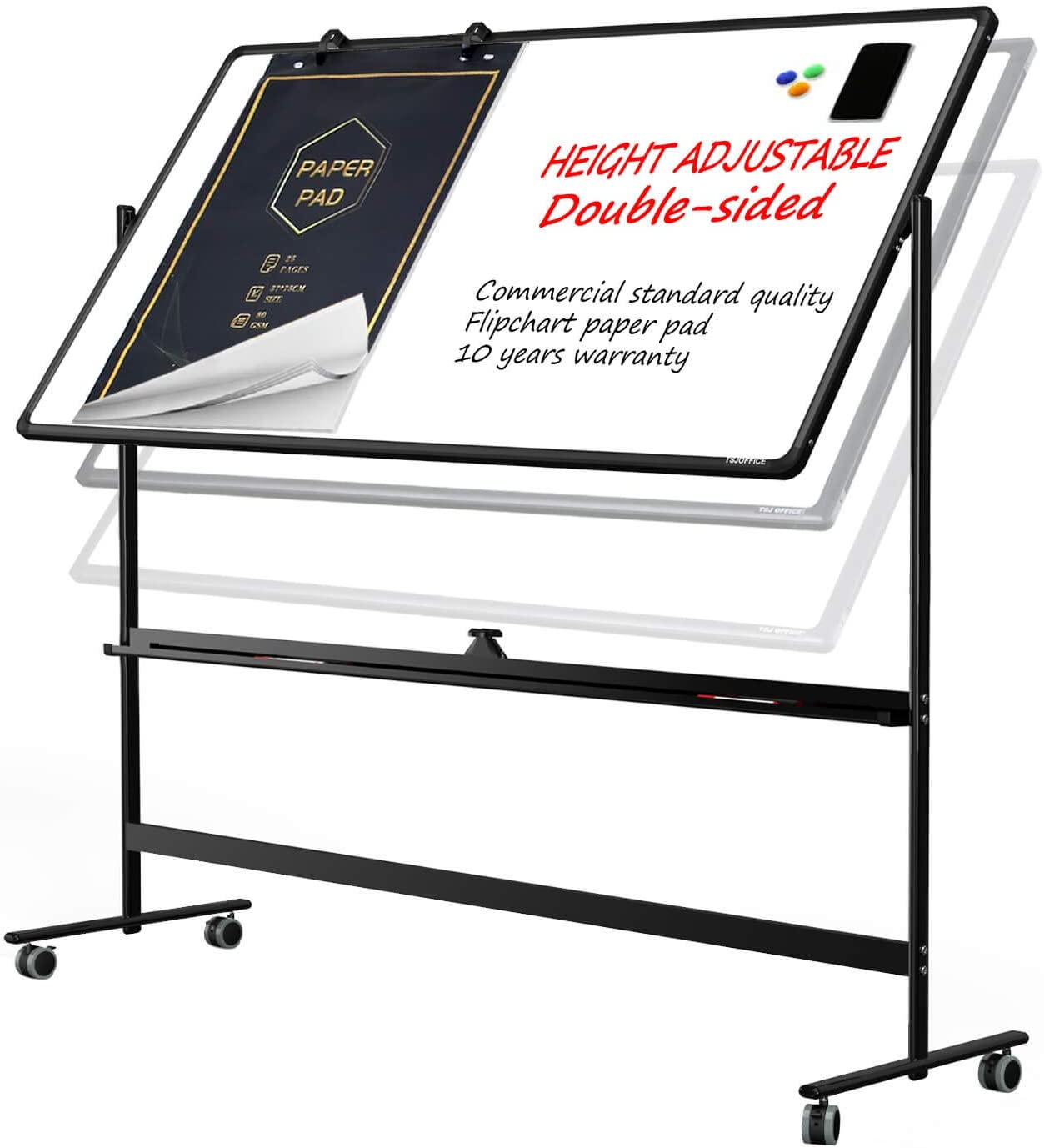 Large Mobile Rolling Magnetic Whiteboard - 48 x 32 Inches Height Adjust Double Sides Portable White Board on Wheels, Dry Erase Board Easel with Stand for Office, Home & Classroom