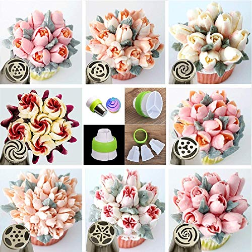 """Tips Stainless Steel Piping Nozzles 9 Pcs/Set Cake Decorating Tools Patisserie Accessories With Piping Bags"""""""