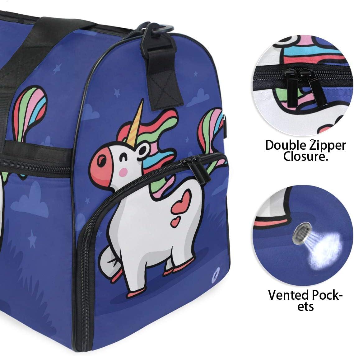 Travel Duffels Smile Unicorn Duffle Bag Luggage Sports Gym for Women /& Men