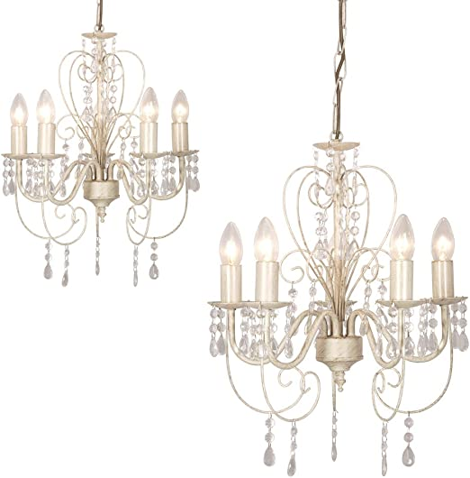 2 X Distressed White Shabby Chic 5 Way Ceiling Light Chandeliers Amazon Co Uk Lighting