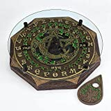 Fantasy Gifts Black Cat and Crescent Moon Ouija Board with Planchette and Glass Top Paranormal