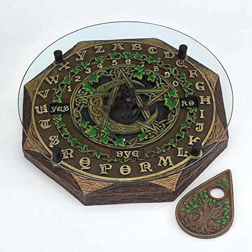 Black Cat and Crescent Moon Ouija Board with Planchette and Glass Top Paranormal by Fantasy Gifts