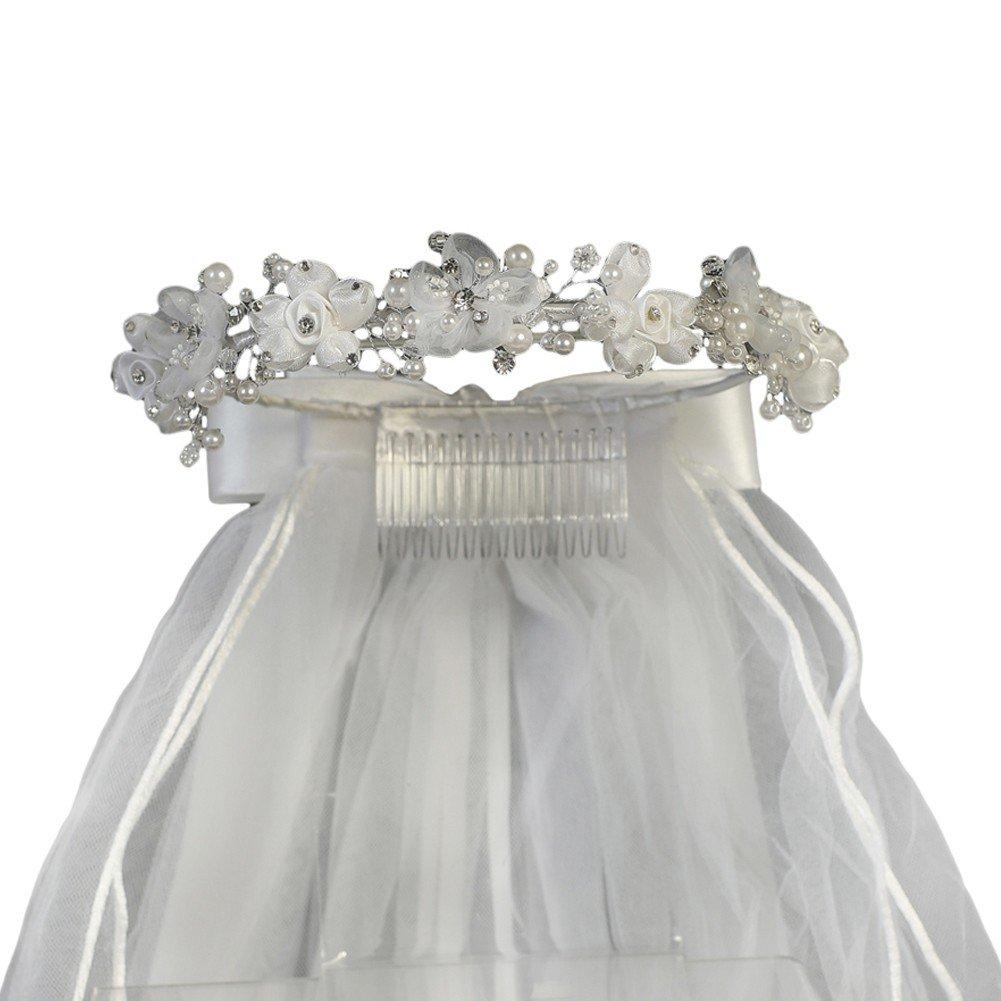 Lito Girls White Organza Satin Flowers Headpiece 24'' Communion Flower Girl Veil