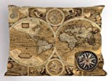Lunarable World Map Pillow Sham, Old Chart with Countries Oceans Continents Atlas Nostalgic Antique Image, Decorative Standard Queen Size Printed Pillowcase, 30 X 20 Inches, Sand Brown Umber